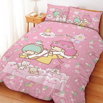 【享夢城堡】Little TwinStars 雙星仙子40th系列-雙人床包薄被套組(粉.紫)