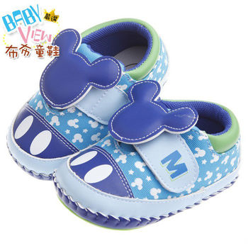 《布布童鞋》Disney迪士尼90週年紀念款藍色大頭米奇舒適學步鞋(13公分~15.5公分)MAM245B