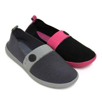 【SNAIL蝸牛】隨性街頭素面雙色彩彈性鬆緊平底懶人鞋-灰色、黑色