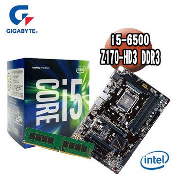 【技嘉組合包】Intel i5-6500+技嘉 Z170-HD3 DDR3主機板+記憶體
