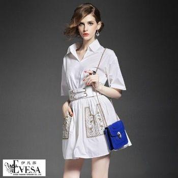 預購【伊凡莎精品】時髦個性帥氣翻領襯衫式洋裝