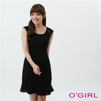 OGIRL簡約荷葉擺洋裝(黑)