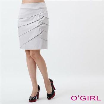 OGIRL波浪多層次短裙(灰)