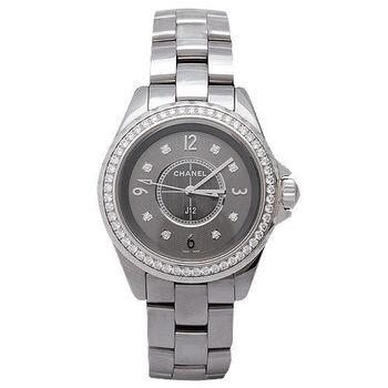 CHANEL 香奈兒J12鈦陶瓷鑲鑽石英腕錶-銀灰/33mm
