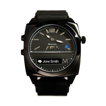 【Martian摩絢錶】Victory 藍牙語音聲控系列-黑色錶殼 x 黑色矽膠錶帶