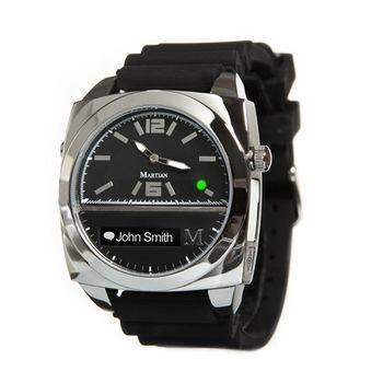 【Martian摩絢錶】Victory 藍牙語音聲控系列-銀色錶殼 x 黑色矽膠錶帶