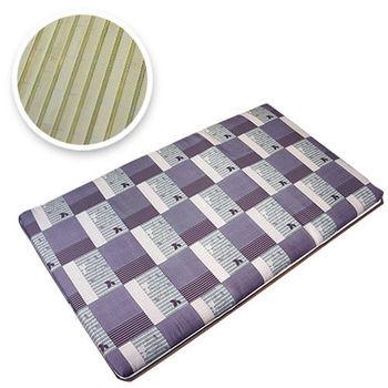 Mexsmon美思夢 冬夏兩用青白鋪棉折疊床墊-單人3X6尺紫藤格紋