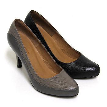 【GREEN PHOENIX】輕熟崇拜皮革壓花紋微尖頭全真皮高跟鞋-黑色、灰色