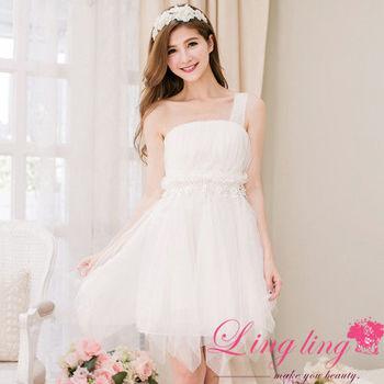 【lingling】單肩花朵網紗不規則小禮服洋裝(優雅白)A2095-03