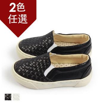 FUFA MIT 編織質感懶人童鞋 ( FNB07) 黑色