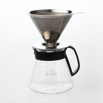 UdiLife 慢拾光/手沖式不鏽鋼咖啡組(附玻璃壺含蓋+咖啡濾杯)