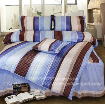 【Victoria】時尚藍 防蟎雙人床包+枕套三件組