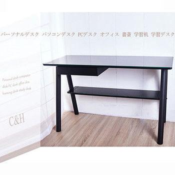 凱堡 武鉉辦公桌/電腦桌/日系機能桌(黑/琥珀色)