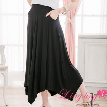 lingling中大尺碼 側口袋不規則長裙(簡約黑)A2342-02 (適穿腰圍34以內,2L號以內)