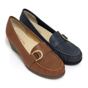 【GREEN PHOENIX】典雅自在金屬雙飾扣水鑽全真皮楔型包鞋-棕色、藍色