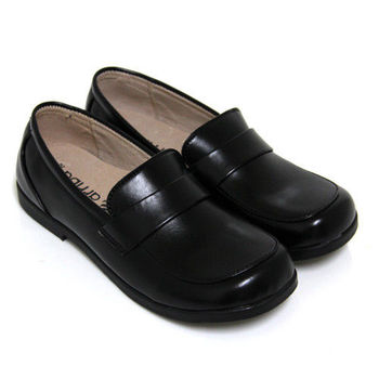 【Pretty】直套式寬圓頭低跟學生皮鞋(女款)-黑色