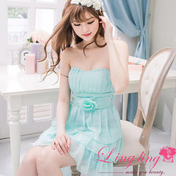 【lingling】飾花桃心領蛋糕雪紡小禮服洋裝(夢幻藍)A2028-01
