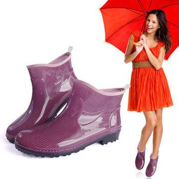 一體成型時尚短筒雨靴/雨鞋(紫點點)