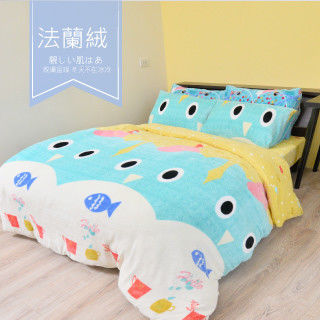 【R.Q.POLO】科美爾-法蘭絨 雙人標準薄被套床包四件組(5X6.2尺)