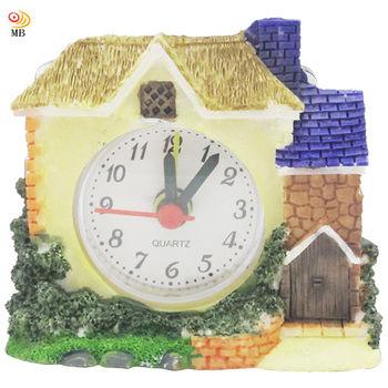 月陽 手工迷你7.5cm溫馨小屋造型時鐘鬧鐘座鐘(L688)