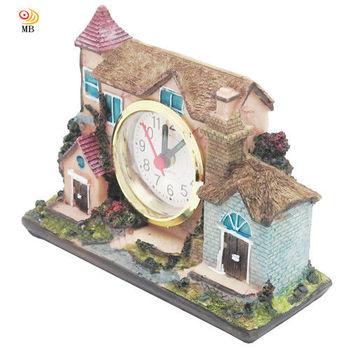 月陽手工14cm歐風建築造型時鐘鬧鐘座鐘(L698)