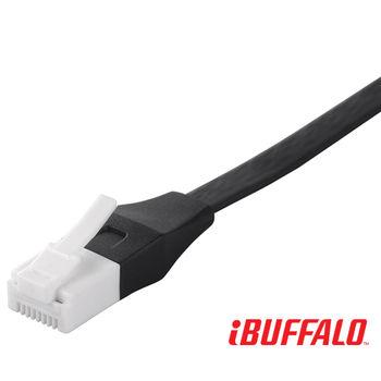 Buffalo 水晶頭卡榫反折斷 Cat 6平板網路線-5M