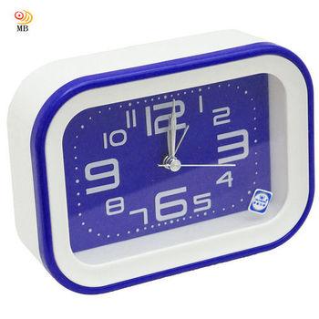 月陽 長方型掛座2用純色經典掃秒靜音鬧鐘時鐘座鐘(SM030)