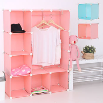 【日本MAKINOU】粉嫩馬卡龍DIY百變6+1組合櫃-附掛衣架