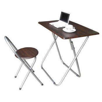 【頂堅】[耐重型]折疊桌椅組[長方形](一桌一椅)-深胡桃木色