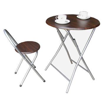 【頂堅】2.2公分鋼管[耐重型]折疊桌椅組(一桌一椅)-深胡桃木色