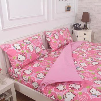 【Love City 寢城之戀】HELLO KITTY 雙人加大四件式薄被套床包組(蘋果派對) 台灣製造