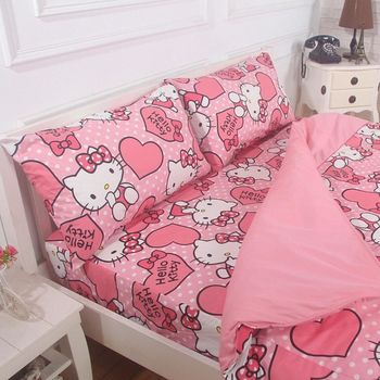 【Love City 寢城之戀】HELLO KITTY 雙人加大四件式兩用被套床包組(粉紅佳人) 台灣製造
