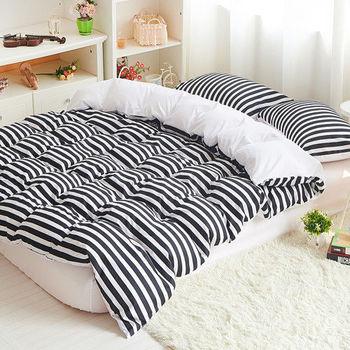 RODERLY 黑白空間 雙色條紋 加大四件式兩用被床包組