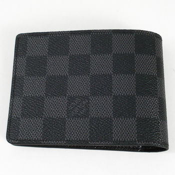 LV N62663 黑棋盤格MULTIPLE雙折簡約短夾(黑灰).現貨