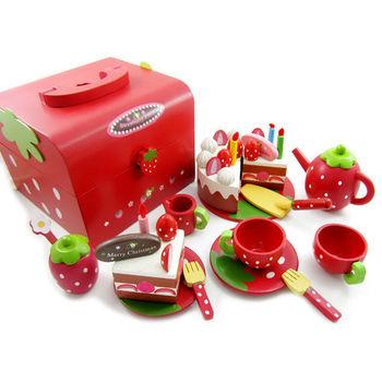 木製草莓蛋糕點心手提家家酒組(木製蛋糕點心玩具組)