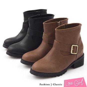 ☆Love Girl☆帥氣單側釦內增高短筒工程靴
