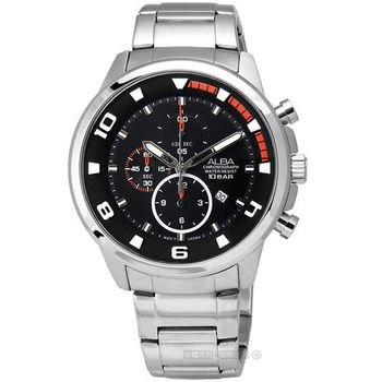 ALBA / YM92-X269D.AF8U07X1 年度限量款年輕世代三環計時不鏽鋼腕錶 黑x橘 47mm