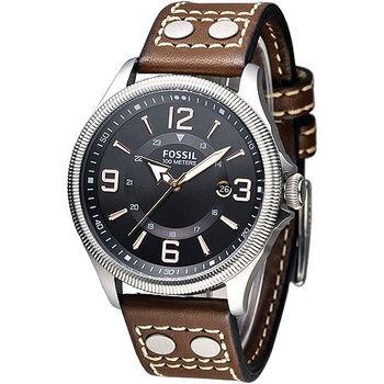 FOSSIL 風格至上復古型男腕錶-黑面/褐帶(FS4962)