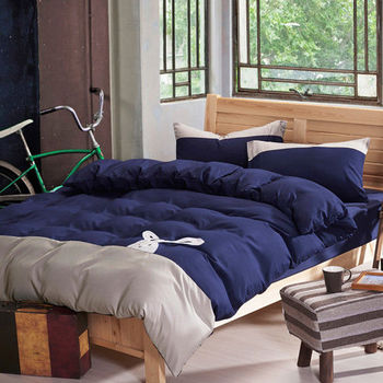 RODERLY 英倫兔(藍) 貼布繡 加大四件式被套床包組