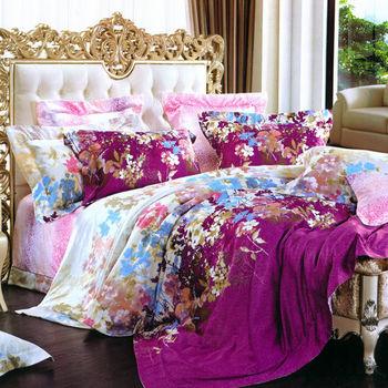 【Betrise】伊甸花園-頂級100%加大60支長絨棉四件式兩用被床包組