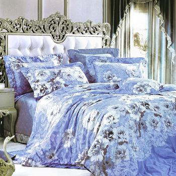 【Betrise】清新花影-頂級100%特大60支長絨棉四件式兩用被床包組