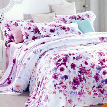 【Betrise】紫妍角色-頂級加大100%天絲TENCEL四件式鋪棉兩用被床包組