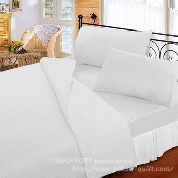 【Victoria】防蟎機能 純棉素色加大床包+枕套組三件組 白色