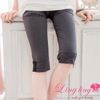 lingling中大尺碼 褲管接紗貼鑽內搭七分褲(顯瘦灰)A2209-01 (適穿腰圍30吋~40吋以內)