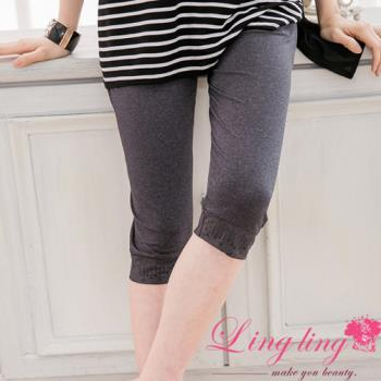 lingling中大尺碼 褲管貼鑽內搭七分褲(自在灰)A2208-01 (適穿腰圍30吋~40吋以內)