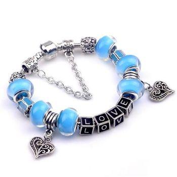 【米蘭精品】潘朵拉元素藍色串珠手鍊925純銀手鍊琉璃珠