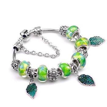 【米蘭精品】潘朵拉元素綠色串珠手鍊925純銀手鍊琉璃珠