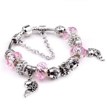 【米蘭精品】潘朵拉元素粉色串珠手鍊925純銀手鍊水晶珠