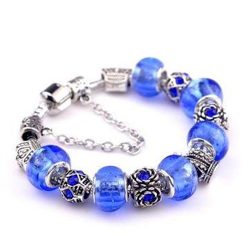 【米蘭精品】925純銀手鍊潘朵拉元素藍色串珠手鍊琉璃珠