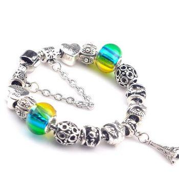 【米蘭精品】925純銀手鍊潘朵拉元素串珠手鍊琉璃珠